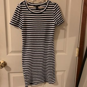 Forever 21 fitted ribbed striped dress